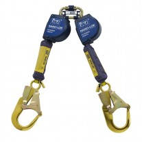 DBI-SALA 3101625 Nano-Lok Extended Length Twin-Leg Self Retracting Lifeline - Web - Alum. Rebar Hooks, 9 ft.