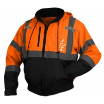 Pyramex RJ3120 Hi Vis Orange Black Bottom Bomber Safety Jacket - Removable Fleece Liner - Type R - Class 3