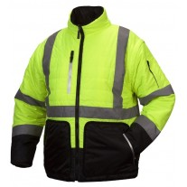 Pyramex RJR3310 Hi Vis Yellow Black Bottom 4-In-1 Reversible Quilted Safety Jacket - Class 3