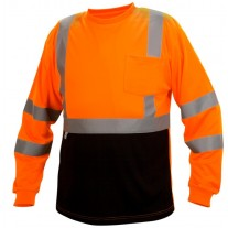 Pyramex RLTS3120B Hi Vis Orange Black Bottom - Long Sleeve Safety Shirt - Type R - Class 3