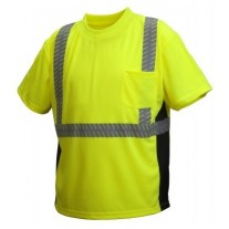 Pyramex RTS2310 Hi Vis Yellow Safety T-Shirt - Broken Heat Sealed Tape- Type R - Class 2 - (CLOSEOUT - LIMITED STOCK AVAILABLE)