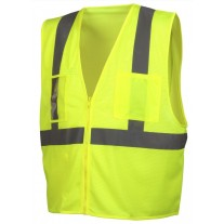 Pyramex RVZ2110CP Type R - Class 2 Hi-Vis Yellow Safety Vest with Clear Pocket