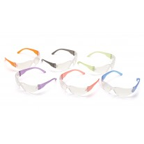 Pyramex Intruder S4110SMP Safety Glasses - Multi Colors Frame - Clear-Hardcoated Lens - Dozen (12 Pairs)