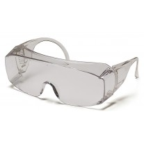 Pyramex S510SJ Solo Jumbo Safety Glasses - (Fits Over Prescription Glasses) - Clear Frame - Clear Lens