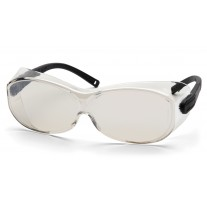 Pyramex S7580SJ OTS XL Safety Glasses - Black Temples - Indoor / Outdoor Mirror Lens