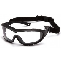 Pyramex V3T SB10310ST Safety Glasses / Goggles - Foam Carriage Lined Frame - With Black Temples/Strap - Clear Anti-Fog Lens
