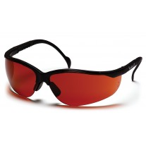Pyramex Venture II Safety Glasses, Black Frame, Sun Block Bronze Lens