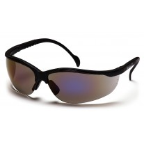 Pyramex Venture II Safety Glasses, Black Frame, Blue Mirror Lens