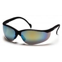 Pyramex Venture II Safety Glasses, Black Frame, Gold Mirror Lens