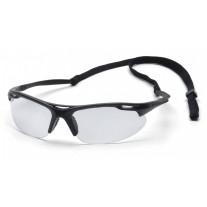 Pyramex SB4510DP Avanté Safety Glasses - Black Frame - Clear Lens with Cord - (Closeout - Limited Stock)
