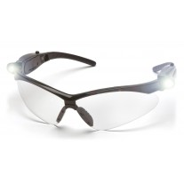 Pyramex SB6310STPLED PMXTREME Safety Glasses - Black Frame - Clear Anti-Fog Lens with LED Temples