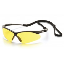 Pyramex PMXTREME Safety Glasses, Black Frame, Amber Lens with Cord