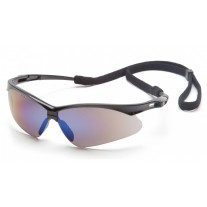 Pyramex SB6375SP PMXTREME Safety Glasses - Black Frame - Blue Mirror Lens with Cord