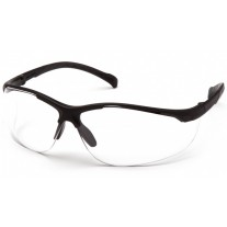 Pyramex Gravex Safety Glasses, Black Frame, Clear Lens