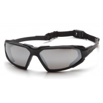 Pyramex SBB5070DT Highlander Safety Glasses - Black Frame - Silver Mirror Anti-Fog Lens