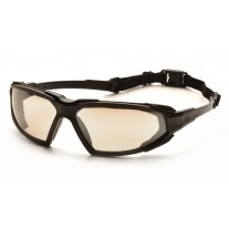 Pyramex SBB5080DT Highlander Safety Glasses - Black Frame - Indoor/Outdoor Mirror Anti-Fog Lens