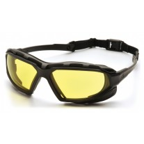 Pyramex Highlander Plus Safety Glasses - Black / Gray Frame - Amber Lens Anti-Fog Lens