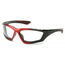 Pyramex SBR8710DTP Accurist Safety Glasses - Black / Red Frame - Clear Anti-Fog Lens