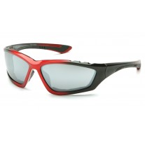 Pyramex Accurist Safety Glasses, Black / Red Frame, Silver Mirror Lens