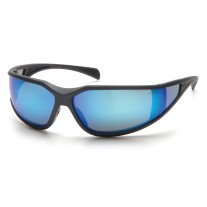 Pyramex SCG5165DT Exeter Safety Glasses Charcoal Gray Frame Ice Blue Mirror Anti-Fog Lens