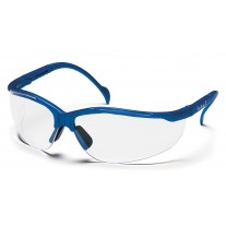 Pyramex Venture II Safety Glasses, Metallic Blue Frame, Clear Lens