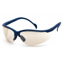 Pyramex SMB1880S Venture II Safety Glasses - Metallic Blue Frame - Indoor/Outdoor Mirror Lens