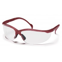Pyramex Venture II Safety Glasses, Maroon Frame, Clear Lens