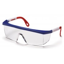 Pyramex SNWR410S Integra Safety Glasses - Red/White/Blue Frame - Clear Lens