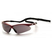 Pyramex PMXTREME Safety Glasses, Red Frame, Gray Lens with Cord
