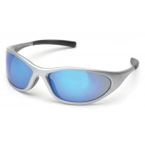Pyramex Zone II SS3365E Safety Glasses Silver Frame Ice Blue Mirror Lens