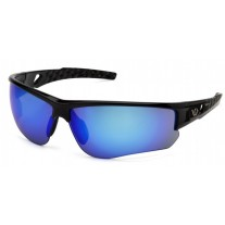 Venture Gear Atwater VGSSB1265TB Safety Glasses Silver Black Frame Ice Blue Anti-Fog Lens