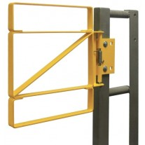 """Fabenco Z70-24PC Self Closing Steel Safety Gate - Carbon Steel with Safety Yell Powder Coat - Fits 24-27"""" Opening"""
