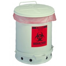 Justrite 05910 Biohazard Waste Can - 6 Gal. Foot Operated - White