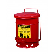 Justrite 09100 Oily Waste Can, 6 gallon, foot-operated self-closing cover, Red
