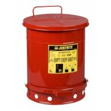 Justrite 09300 Oily Waste Can, 10 gallon, foot-operated self-closing cover, Red