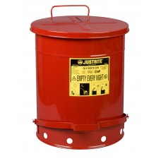 Justrite 09500 Oily Waste Can, 14 gallon, foot-operated self-closing cover, Red