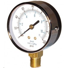 "PIC Gauge 101D-204 - 2"" Dial, Dry, 1/4"" Lower Mount Conn., Black Steel Case, Brass Internals"
