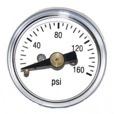 "PIC 102D-108 1"" Mini Bourdon Tube Gauge, 1"" Dial, Dry, 1/8"" NPT Center Back Mount Conn., Black Plastic Case, Brass Internals"