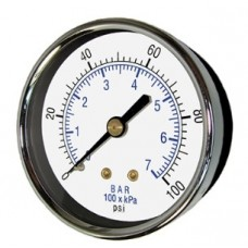 "PIC Gauge 102D-204, 2"" Dial, Dry, 1/4"" Center Back Mount Conn., Black Steel Case, Brass Internals"