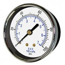 "PIC Gauge 102D-158, 1-1/2"" Dial, Dry, 1/8"" Center Back Mount Conn., Black Steel Case, Brass Internals"