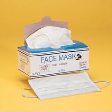 FACE MASK - 3 PLY - WITH EAR LOOPS - 100% LATEX FREE, WHITE, 500 / CASE
