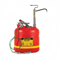 Justrite 14586 5 Gallon Plastic Safety Can - With Stainless Steel Piston Pump - Red