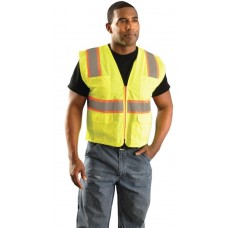 Occunomix LUX-ATRNSM High Visibility Classic Mesh Two-Tone Surveyor Safety Vest, Lime/Yellow