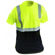 OccuNomix LUX-SSETPBK Class 2 Hi Vis Yellow Classic Black Bottom T-Shirt - (CLOSEOUT - LIMITED STOCK AVAILABLE)