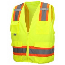 Pyramex RVZ2410SE Hi Vis Lime/Yellow Surveyor Safety Vest, Self Extinguishing, Type R - Class 2, With Reflective Tape