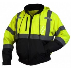 Pyramex RJ3110 Hi Vis Lime/Yellow Bomber Safety Jacket With Hood, Type R / Class 3, With Reflective Tape