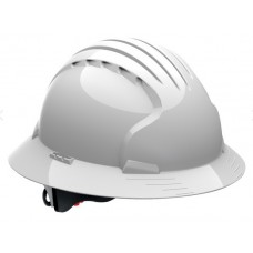 JSP Evolution Deluxe 6161 Full Brim Hard Hat, Non-Vented, White (CLEARANCE)