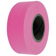 "Flagging Tape - 1-3/16"" x 150' - Fluorescent Pink - 12 Rolls"