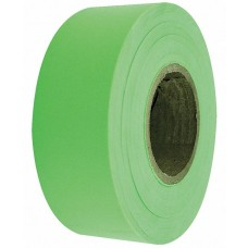 "Flagging Tape - 1-3/16"" x 150' - Fluorescent Lime - 12 Rolls"