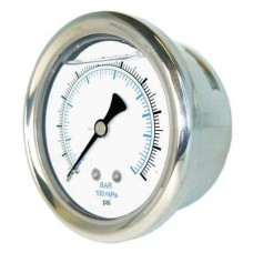 "PIC Gauge 202L-208, 2"" Dial, Glycerine Filled, 1/8"" Center Back Mount Conn., Stainless Steel Case and Bezel, Brass Internals"